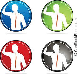 Human vertebral column health sign collection, colorful designs.