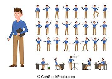 human, vetorial, poses, personagem, caricatura, pessoa, sujeito, homem, illustration., sorrindo, desenho, negócio, estilo, apartamento, jogo, trabalhador escritório