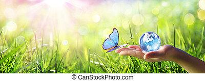 human, vidro, encontre, mão, conceito, globe-love, meio ambiente, cuidado, borboleta