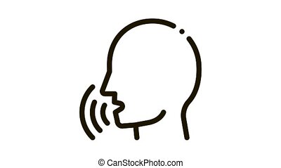 Human Voice Control animated black icon on white background