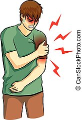 arm pain - human was arm pain drawing vector
