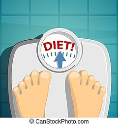 Human weighed on the scales. Word diet on the scale. Stock vector illustration.
