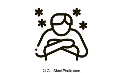 Human With Chill Icon Animation. black Human With Chill animated icon on white background