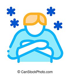 Human With Chill Icon Vector Outline Illustration