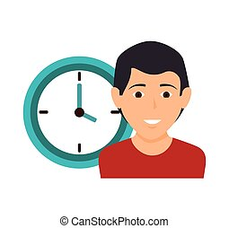 human with clock icon