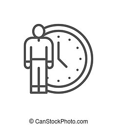 Human with clock, time management line icon.