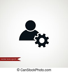 Human with gear icon simple illustration