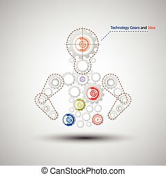 Human with set of gears and idea vector background
