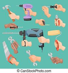 Human worker hands holding construction repair instrument tools vector cartoon style