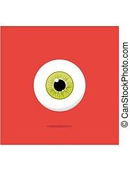 Human yellow - green eye isolated on red background. Eyeball iris pupil