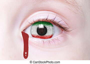 human's eye with national flag of iran with bloody tears
