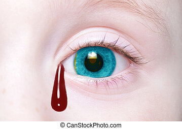 human's eye with national flag of kazakhstan with bloody tears.