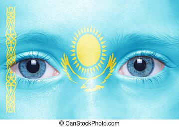 human's face with kazakhstan flag
