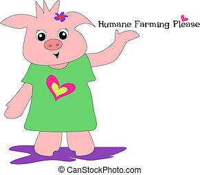Humane Farming Please Pig Vector - Support a Humane Farming...