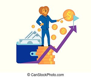 Humanised Lion Character Stand at Top of Coin Pile