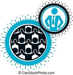 humanité, et, personne, conceptuel, logo, unique, vecteur, symbole, créé, à, différent, icons., système, et, social, matrice, signe., personne, et, mondiale, réagit réciproquement, à, chaque, autre., système, et, social, matrice, signe.