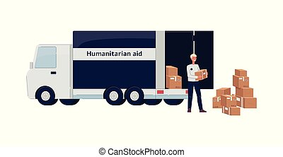 Humanitarian aid and charity, a man volunteer stands at the truck and the van and holds boxes with a donation.
