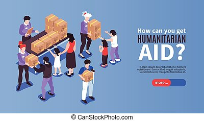 Humanitarian Aid Banner - Volunteers giving boxes with ...