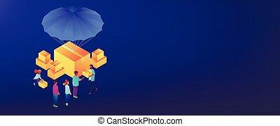 Humanitarian aidisometric 3D banner header. - Volunteers...