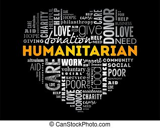 Humanitarian heart word cloud collage, concept background