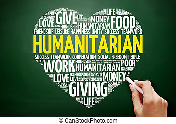 Humanitarian heart word cloud