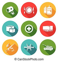 Humanitarian relief Icons Set. Vector Illustration.