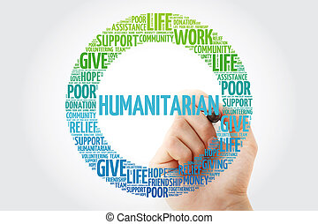 Humanitarian word cloud collage with marker