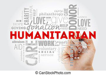 Humanitarian word cloud collage