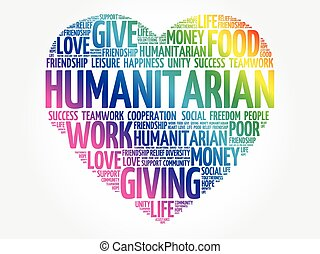 humanitario, concepto, palabra, nube