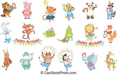 Humanized Animal Characters Attending Birthday Party Celebration Set