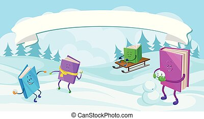 Humanized books characters with smiling faces having fun in winter holidays vector illustration, colorful design element for poster or banner
