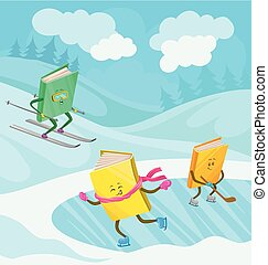 Humanized books characters with smiling faces skiing, skating and playing ice hockey in winter holidays vector illustration, design element for poster or banner