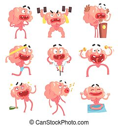 Humanized Brain Cartoon Character With Arms And Legs Funny Life Scenes And Emotions Collection Of Illustrations