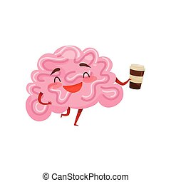 Humanized brain laughing and holding plastic cup of coffee. Funny cartoon character. Human organ. Flat vector icon