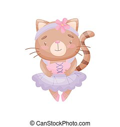 Humanized cat in a ballerina dress. Vector illustration on white background.