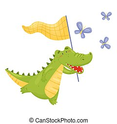 Humanized crocodile catches butterflies. Vector illustration on a white background.