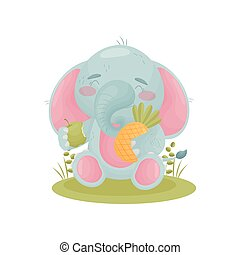 Humanized cute baby elephant holding fruit in his hands. Vector illustration on white background.