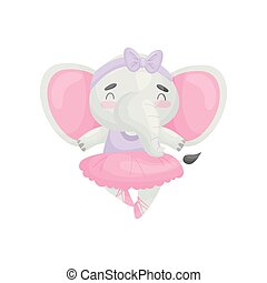 Humanized elephant in a dress ballerina. Vector illustration on white background.
