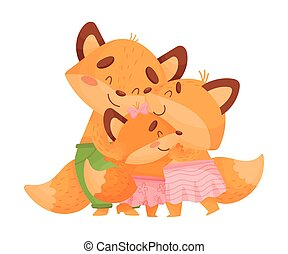 Humanized family of foxes cuddling. Vector illustration on a white background.