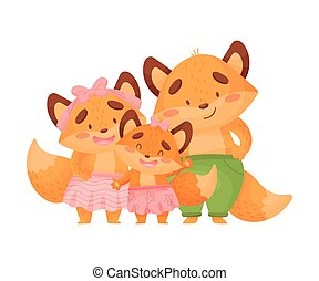 Humanized family of foxes stands. Vector illustration on a white background.