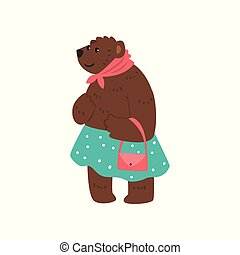 Humanized female bear character dressed in human clothes standing with bag cartoon vector Illustration on a white background