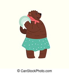 Humanized female bear character dressed in human clothes wiping plate with towel cartoon vector Illustration on a white background