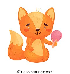 Humanized fox with ice cream. Vector illustration on white background.