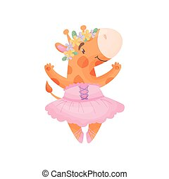 Humanized giraffe in a ballerina dress. Vector illustration on white background.