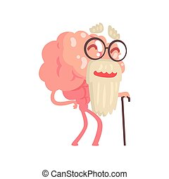 Humanized gray bearded old cartoon brain character walking with a cane, intellect human organ vector Illustration