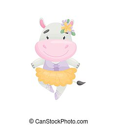 Humanized hippo in a dress ballerina. Vector illustration on white background.