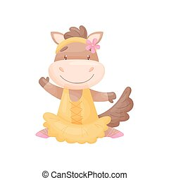 Humanized horse in a ballerina dress. Vector illustration on white background.