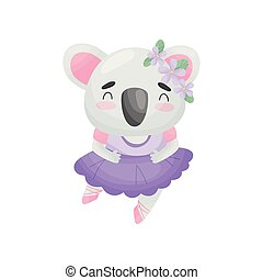Humanized koala in ballerina dress. Vector illustration on white background.