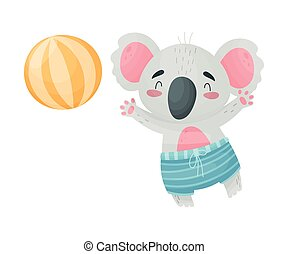 Humanized koala is playing the ball. Vector illustration on white background.
