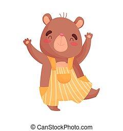 Humanized little bear is standing on one leg. Vector illustration on white background.